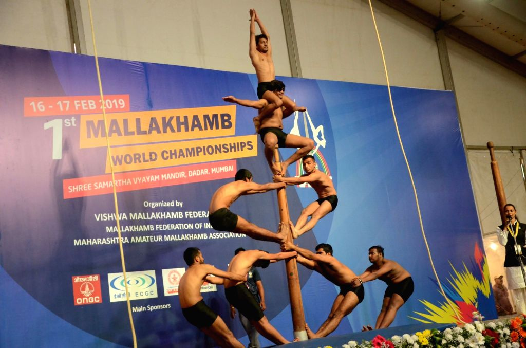 Athletes during the first Mallakhamb World Championships at Shivaji Park in Mumbai on Feb 16, 2019.