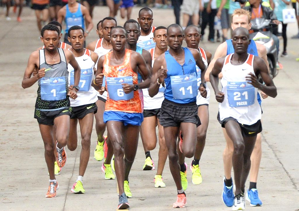 Athletes in action  during TCS World 10K 2017 in Bengaluru on May 21, 2017.