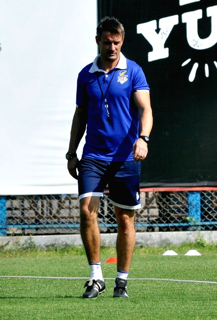 ATK chief coach Teddy Sheringham during a practice session ahead of an ISL match against  Kerala Blasters; in Kolkata on Feb 7, 2018.