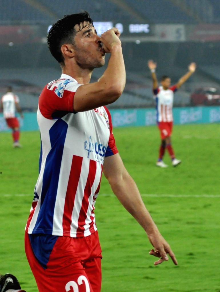 ATK player Eduardo Garcia Martin celebrate after scoring a goal during an ISL match between ATK and Delhi Dynamos FC at Salt Lake Stadium in Kolkata on March 3, 2019.