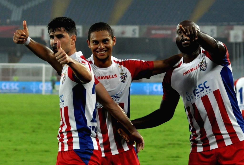 ATK players celebrate after scoring a goal during an ISL match between ATK and Delhi Dynamos FC at Salt Lake Stadium in Kolkata on March 3, 2019.