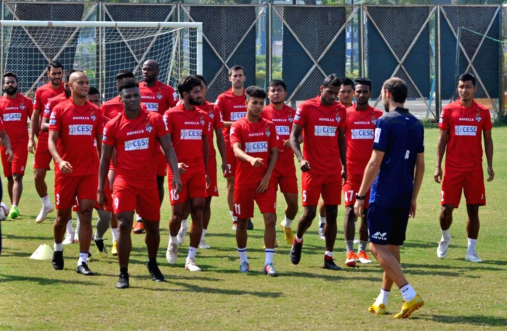 ATK players during a practice session ahead of an Indian Super League (ISL) 2018 match against Chennaiyin FC in Kolkata, on Oct 25, 2018.