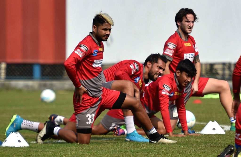 ATK players in action during a practice session ahead of an ISL match in Kolkata, on Jan 24, 2018.