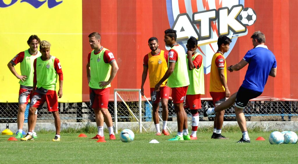 ATK players in action during a practice session ahead of an ISL match against  Kerala Blasters; in Kolkata on Feb 7, 2018.