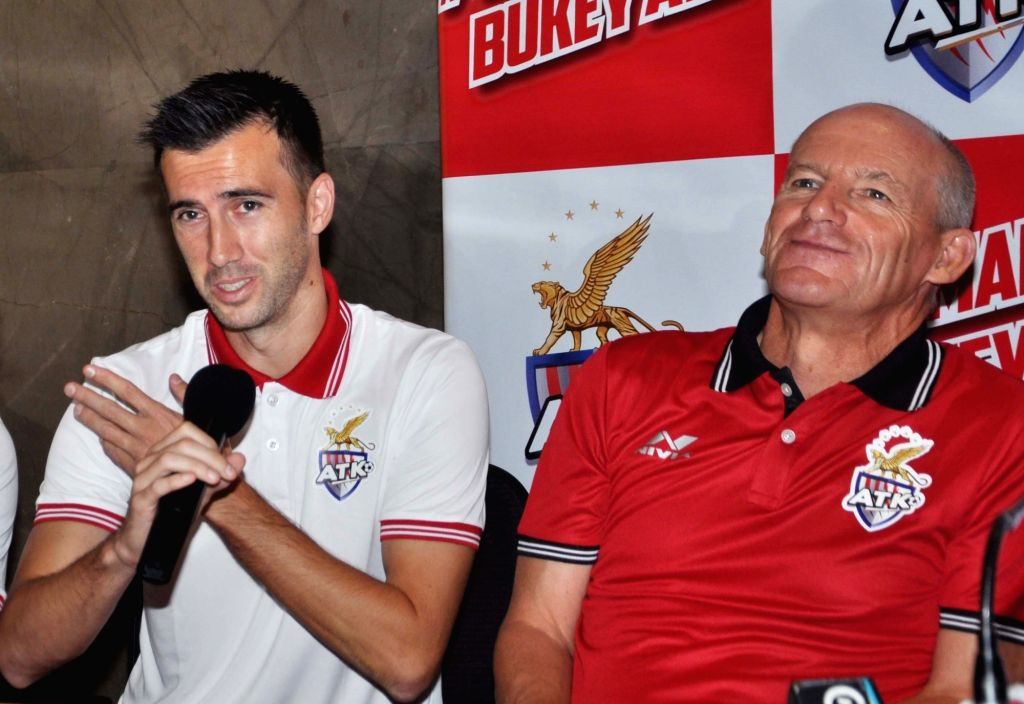 Atletico de Kolkata (ATK) captain Manuel Lanzarote Bruno addresses at the launch of the team's new jersey, along with ATK head coach  Steve Coppell, in Kolkata on Sept 20, 2018. - Manuel Lanzarote Bruno
