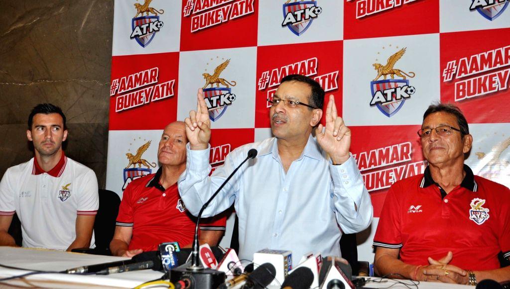 Atletico de Kolkata (ATK) Principal Owner and RP-Sanjiv Goenka Group's (RPSG) Chairman Sanjiv Goenka addresses at the launch of the team's new jersey, along with ATK head coach  Steve ... - Manuel Lanzarote Bruno and Sanjiv Goenka Grou