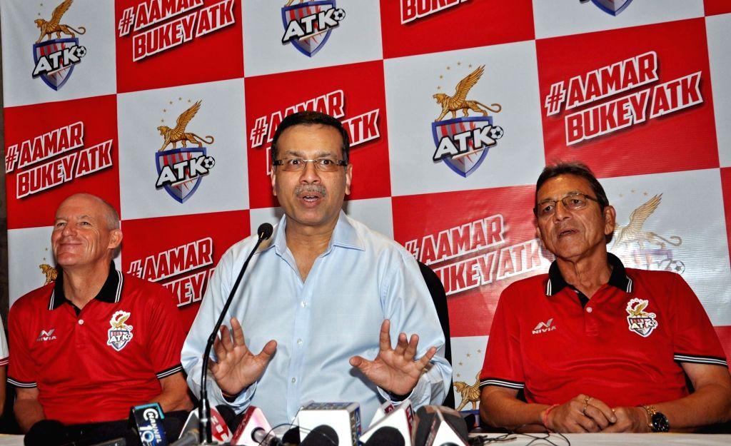 Atletico de Kolkata (ATK) Principal Owner and RP-Sanjiv Goenka Group's (RPSG) Chairman Sanjiv Goenka addresses at the launch of the team's new jersey, along with ATK head coach  Steve ... - Sanjiv Goenka Grou
