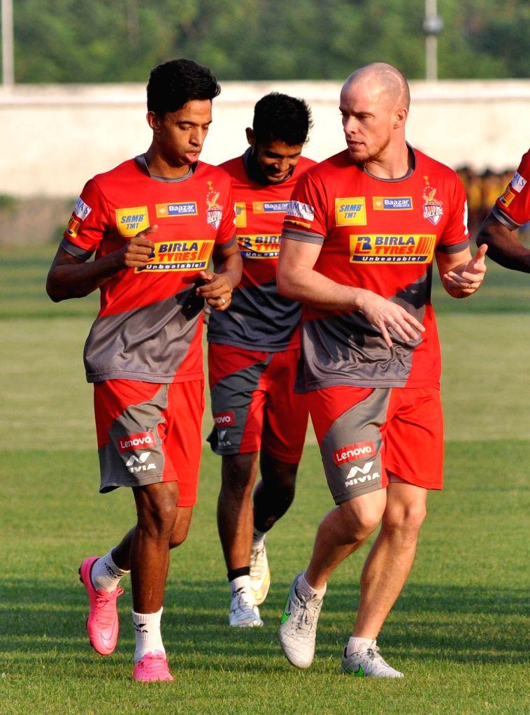 Atletico de Kolkata players during a practice session in Kolkata, on Nov 21, 2015.