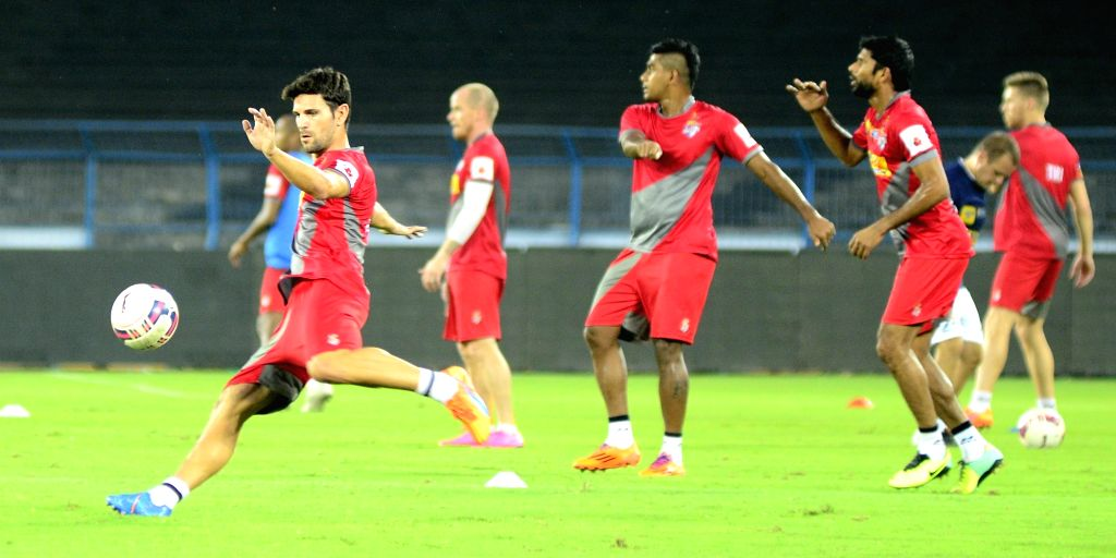 Atletico de Kolkata players in action during practice session in Kolkata, on Oct 28, 2015.