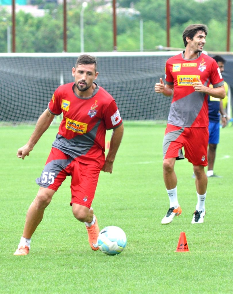 Atletico de Kolkata players in action during a practice session in Kolkata, on Oct 7, 2016.