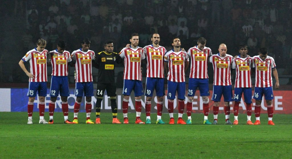 Atletico de Kolkata players observe one-minute silence for the Brazil's Chapecoense football team players who died in a plane crash during an ISL match between Atletico de Kolkata and Kerala ...
