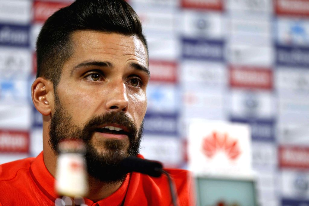 Atletico de Madrid's goalkeeper Miguel Angel Moya addresses a press conference after taking part in a team's training session at Cerro del Espino sport complex in Majadahonda, outside Madrid, ...