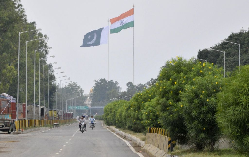 Attari: A view of the India and Pakistan's national flag at Attari international border on Aug 14, 2017. (Photo: IANS)