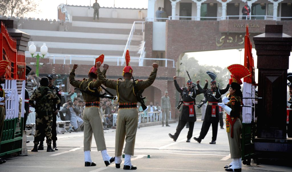 Soldiers during the beating retreat ceremony at the Attari-Wagha border on Jan 26, 2015.