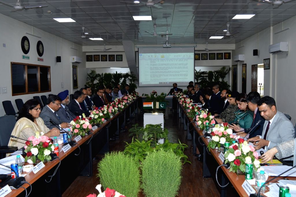 Attari: The third round of talks held for operationalising the Kartarpur Corridor underway at Attari checkpoint in Punjab on Sep 4, 2019. The Indian delegation was led by Joint Secretary, Ministry of Home Affairs and the Pakistani delegation led by D