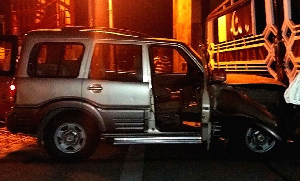: Attari: The vehicle that rammed into the border gate at Attari-Wagha border on Nov 15, 2015. (Photo: IANS).