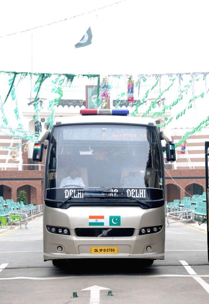 Attari-Wagah border: A Lahore-Delhi bus enter in India at Attari-Wagah border, on Aug 15, 2015.