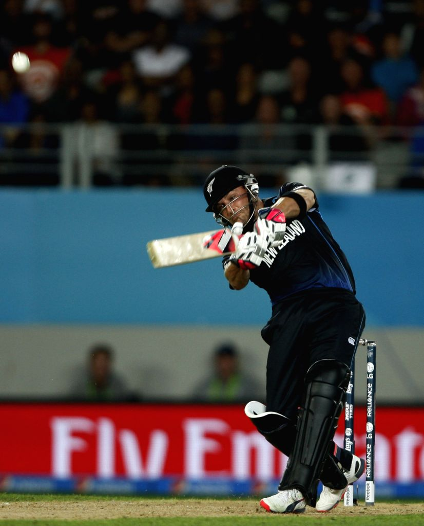 Auckland: New Zealand captain Brendon McCullum in action during the ICC World Cup 2015 first semi-final match between New Zealand and South Africa at Eden Park, Auckland, New Zealand on ... - Brendon M