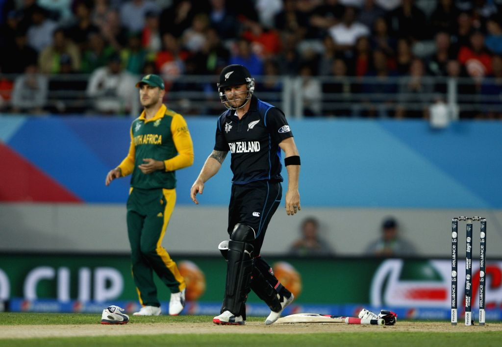 Auckland: New Zealand captain Brendon McCullum during the ICC World Cup 2015 first semi-final match between New Zealand and South Africa at Eden Park, Auckland, New Zealand on March 24, ... - Brendon M