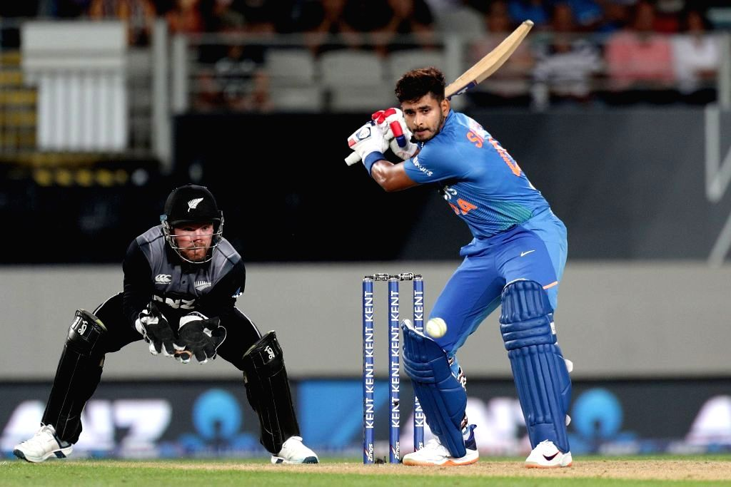 Auckland: India's Shreyas Iyer in action during the first T20I of the five-game series between India and New Zealand at Eden Park in Auckland, New Zealand on Jan 24, 2020. (Photo: IANS/ICC)