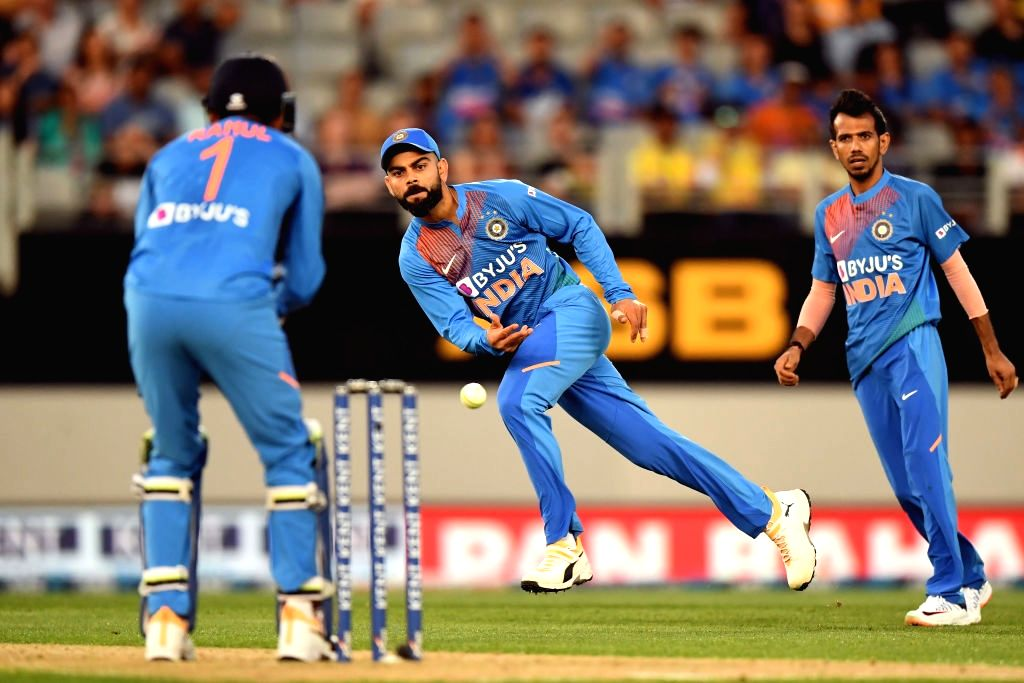 Auckland: Indian skipper Virat Kohli in action during the first T20I of the five-game series between India and New Zealand at Eden Park in Auckland, New Zealand on Jan 24, 2020. (Photo: IANS/ICC) - Virat Kohli