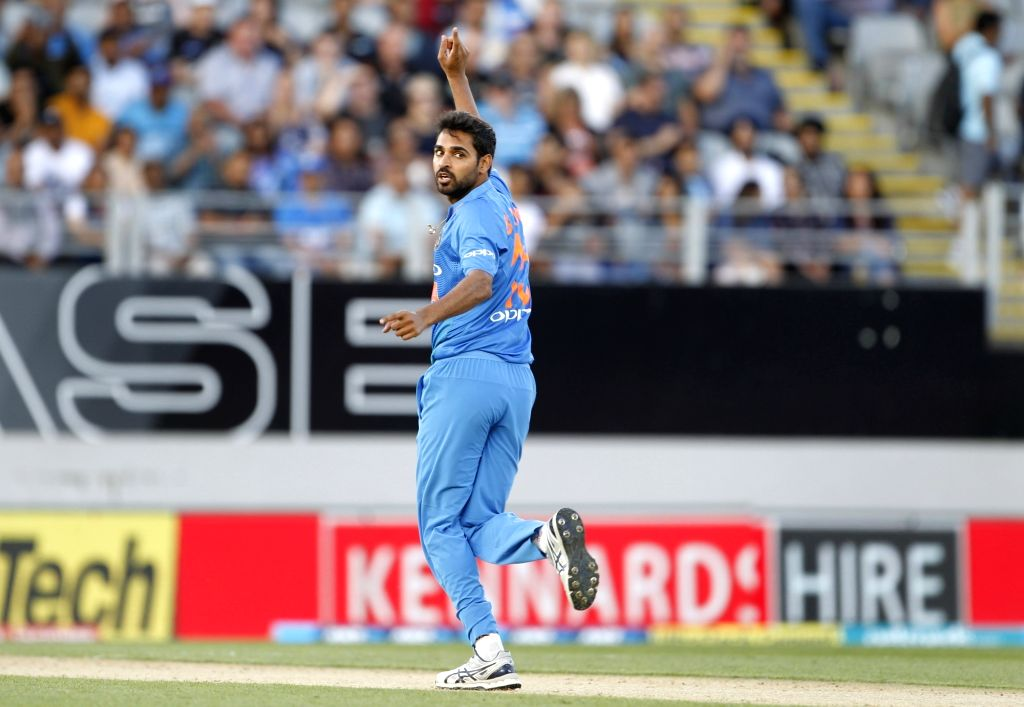 Auckland (New Zealand): India's Bhuvneshwar Kumar celebrates the wicket of Tim Seifert during the second T20I match between India and New Zealand at Eden Park in Auckland, New Zealand on Feb 8, 2019. - Bhuvneshwar Kumar