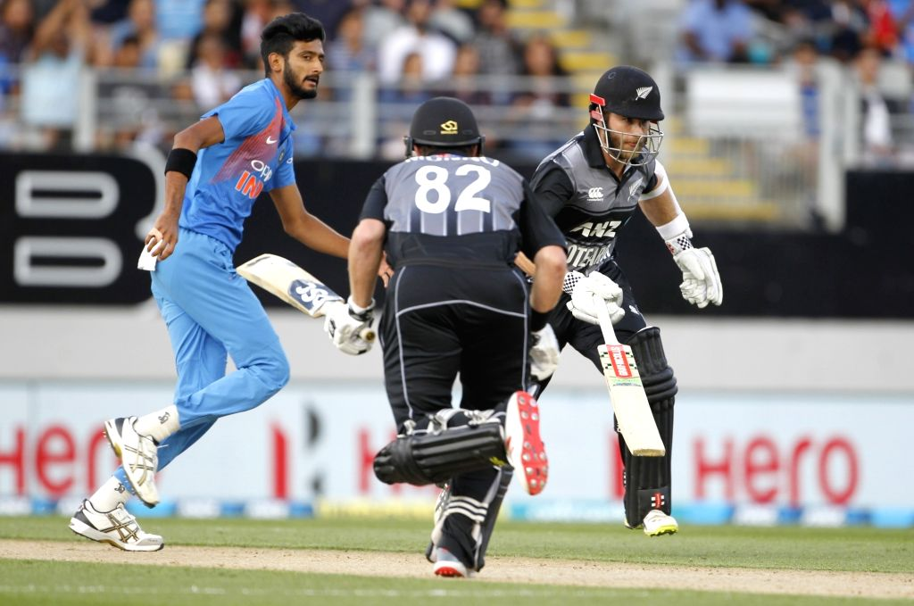 Auckland (New Zealand): India's Khaleel Ahmed during the second T20I match between India and New Zealand at Eden Park in Auckland, New Zealand on Feb 8, 2019.