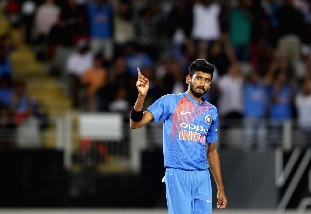 Auckland (New Zealand): India's Khaleel Ahmed reacts during the second T20I match between India and New Zealand at Eden Park in Auckland, New Zealand on Feb 8, 2019. (Photo: Surjeet Yadav/IANS) - Surjeet Yadav