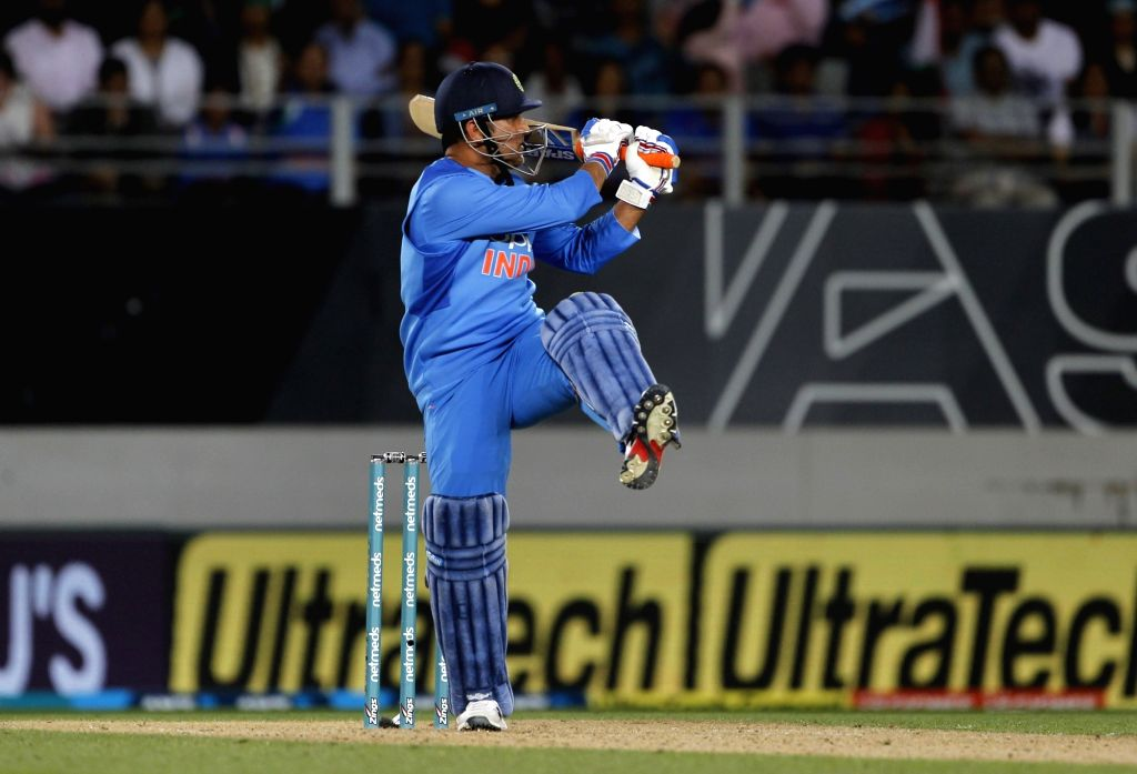 Auckland (New Zealand): India's MS Dhoni  in action during the second T20I match between India and New Zealand at Eden Park in Auckland, New Zealand on Feb 8, 2019. - MS Dhoni