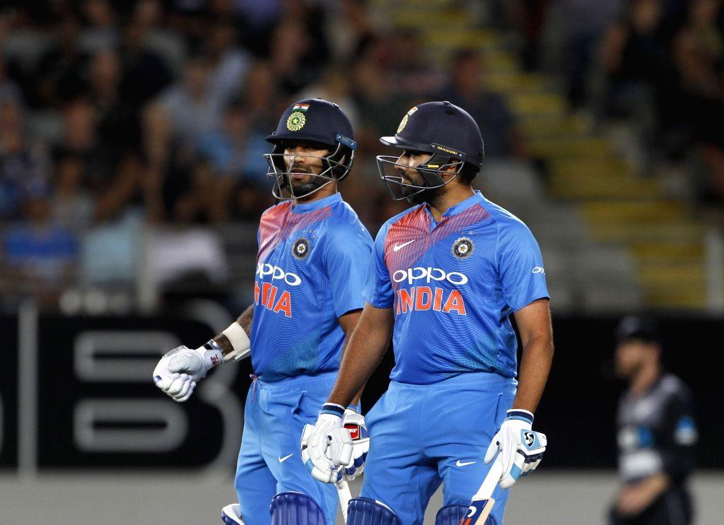 Auckland (New Zealand): India's Rohit Sharma and Shikhar Dhawan during the second T20I match between India and New Zealand at Eden Park in Auckland, New Zealand on Feb 8, 2019. (Photo: Surjeet Yadav/IANS) - Shikhar Dhawan, Rohit Sharma and Surjeet Yadav