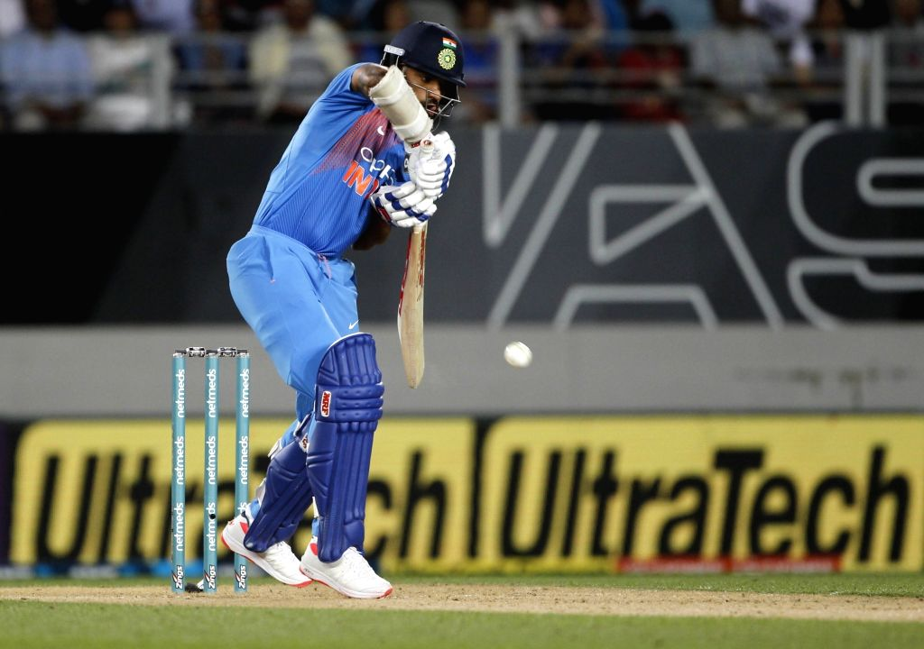 Auckland (New Zealand): India's Shikhar Dhawan in action during the second T20I match between India and New Zealand at Eden Park in Auckland, New Zealand on Feb 8, 2019. - Shikhar Dhawan