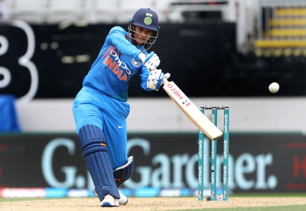 Auckland (New Zealand): India's Smriti Mandhana in action during the second women's T20I match between India and New Zealand at Eden Park in Auckland, New Zealand on Feb 8, 2019.