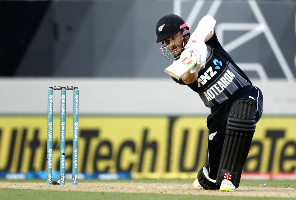 Auckland (New Zealand): New Zealand captain Kane Williamson in action during the second T20I match between India and New Zealand at Eden Park in Auckland, New Zealand on Feb 8, 2019. (Photo: Surjeet Yadav/IANS) - Kane Williamson and Surjeet Yadav