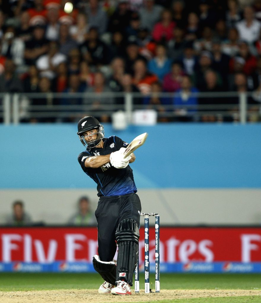 New Zealand player Grant Elliott in action during the first semi-final match of ICC World Cup 2015 between New Zealand and South Africa at Eden Park, Auckland, New Zealand on March 24, ...
