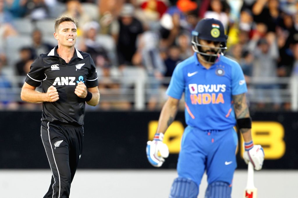 Auckland: New Zealand's Tim Southee celebrates the wicket of Virat Kohli during the the second ODI of the three-match series between India and New Zealand at the Eden Park in Auckland, New Zealand on Feb 8, 2020. (Photo: Surjeet Yadav/IANS) - Virat Kohli and Surjeet Yadav