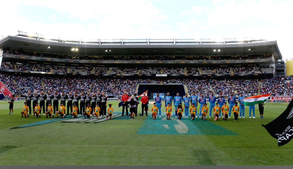 Auckland (New Zealand): The cricket teams of India and New Zealand during their respective National Anthems ahead of the second T20I match between India and New Zealand at Eden Park in Auckland, New Zealand on Feb 8, 2019. (Photo: Surjeet Yadav/IANS) - Surjeet Yadav