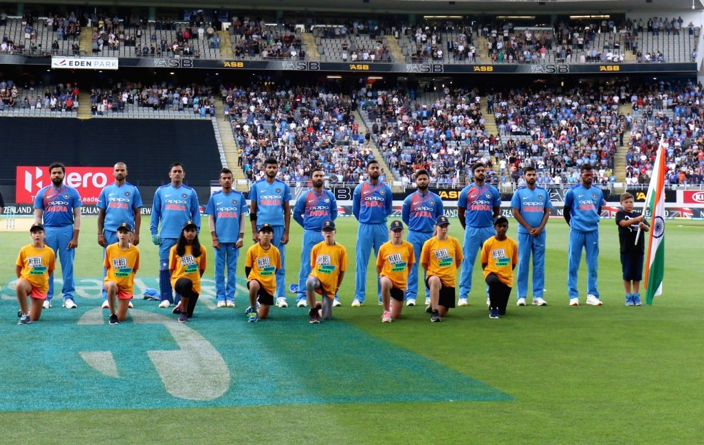 Auckland (New Zealand): The Indian team during National Anthem ahead of the second T20I match between India and New Zealand at Eden Park in Auckland, New Zealand on Feb 8, 2019.