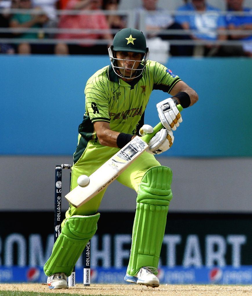 Pakistani batsman Misbah-ul-Haq in action during an ICC World Cup 2015 match between Pakistan and South Africa at Eden Park, Auckland, New Zealand on March 7, 2015. - Misbah