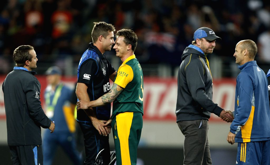 South African player Dale Steyn shake​s​ hand​s​ with New Zealand player Tim Southee ​after loosing the ICC World Cup 2015 semi-final match ​against ​New Zealand at Eden Park, ...