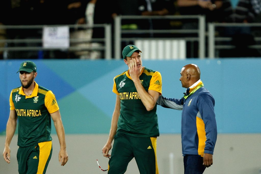 South African player Morne Morkel react​s​ ​​after losing​ to ​New Zealand​ ​in the ​​first semi-final match of​ ICC World Cup 2015 ​at Eden Park, Auckland, New ...