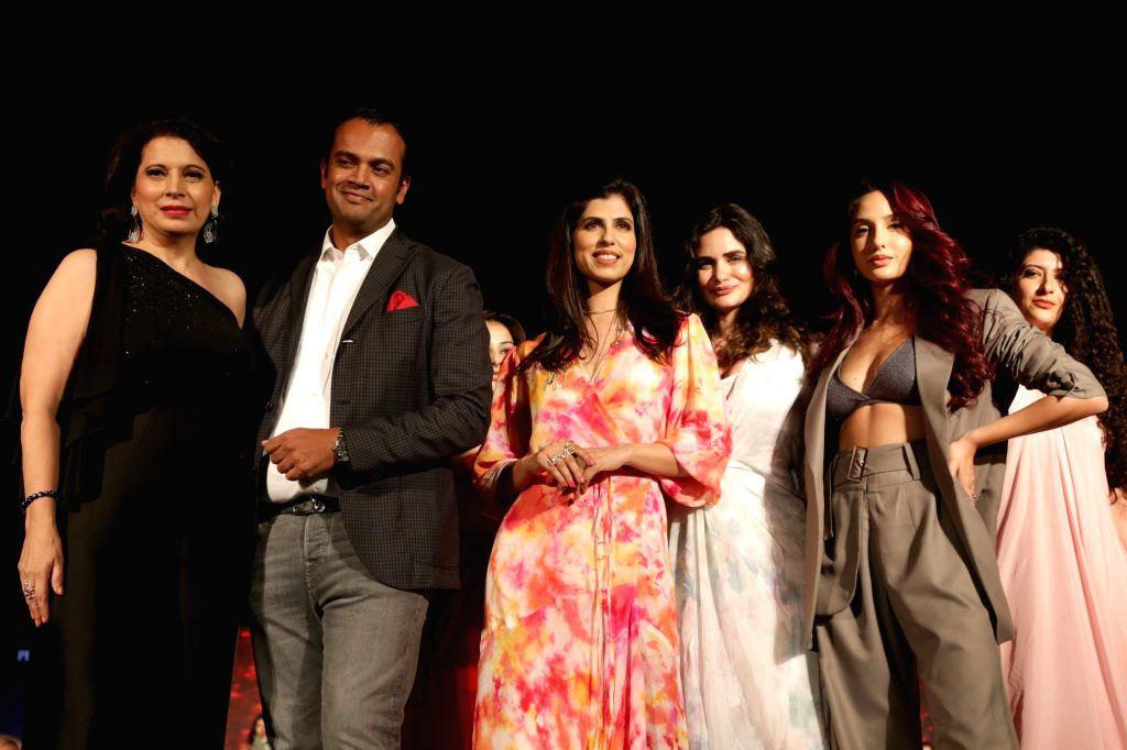 Audi India Head Rahil Ansari, actress Nora Fatehi and model Gabriella Demetriades at Audi Peaklife Fashion Capsule in New Delhi, on April 5, 2019. - Nora Fatehi