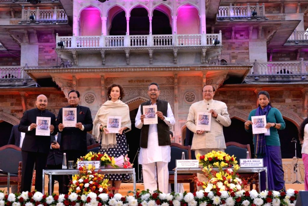 Auditor General of UNESCO Audrey Azoulay, Rajasthan Minister of Urban Development Shanti Dhariwal, Tourism Minister Vishvendra Singh and other dignitaries at a glittering ceremony where ... - Vishvendra Singh