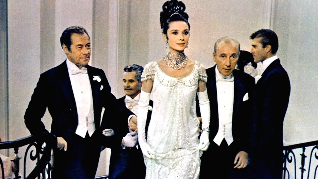 """Audrey Hepburn as a transformed Eliza Doolittle in the film version of \""""My Fair Lady\"""", based on Shaw\'s play"""