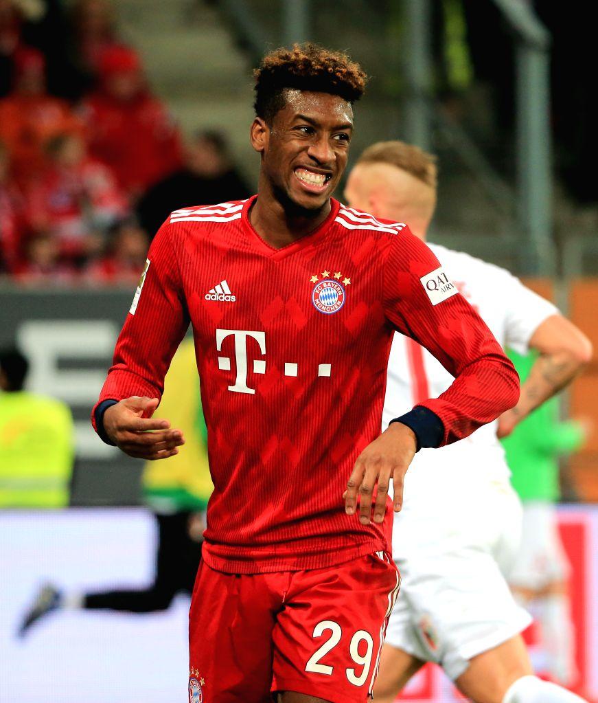AUGSBURG, Feb. 16, 2019 - Bayern Munich's Kingsley Coman reacts during a German Bundesliga match between FC Augsburg and Bayern Munich in Augsburg, Germany, Feb. 15, 2019. Bayern Munich won 3-2.