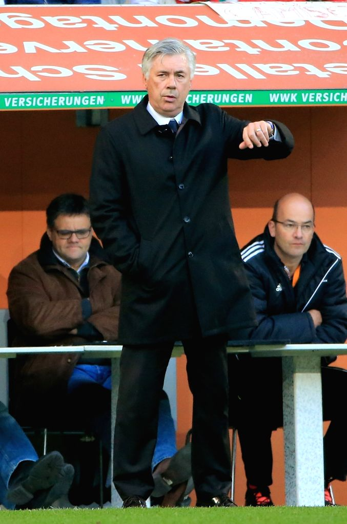AUGSBURG, Oct. 30, 2016 - Bayern Munich's head coach Carlo Ancelotti gestures during the German Bundesliga soccer match between FC Augsburg and FC Bayern Munich in Augsburg, Germany, Oct. 29, 2016. ...