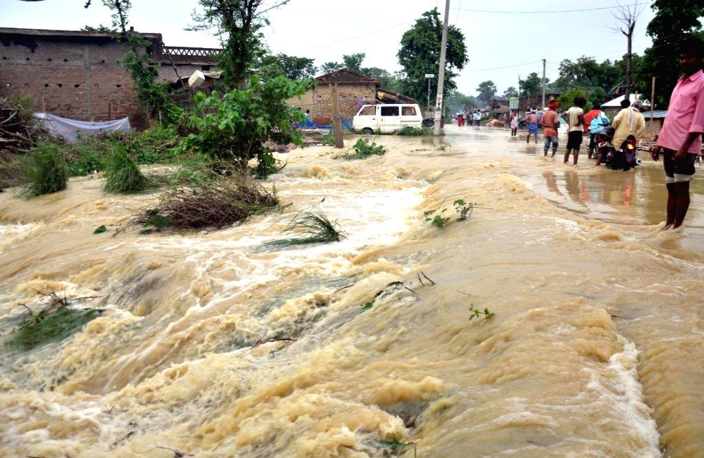 Aurai: A view of flood hit Aurai, Muzaffarpur district of Bihar on July 14, 2019. (Photo: IANS)