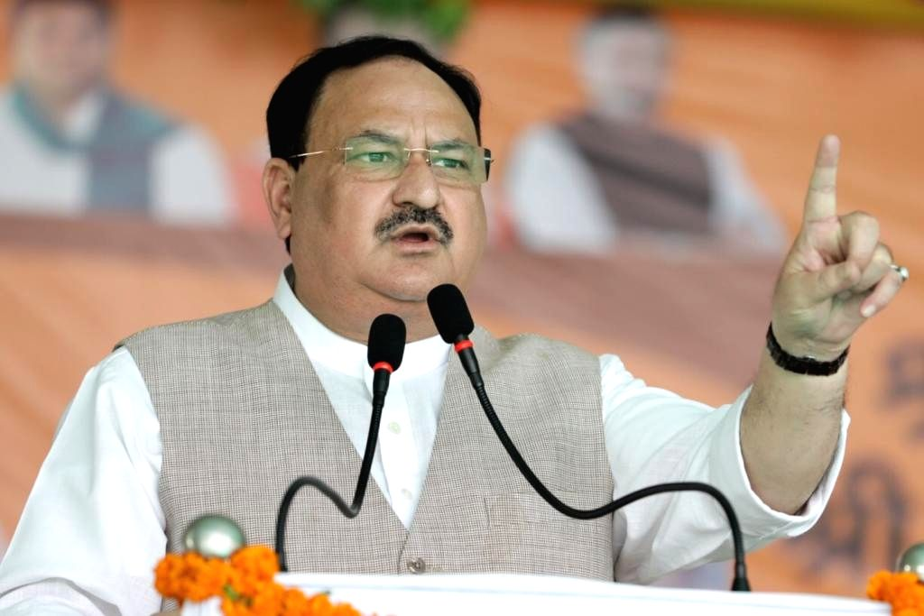 Aurangabad: BJP National President JP Nadda addresses an election rally ahead of Bihar Assembly polls, in Aurangabad on Oct 26, 2020. (Photo: IANS)