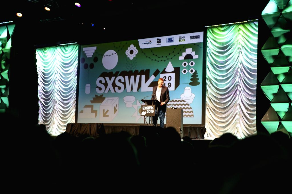 AUSTIN (U.S.), March 8, 2019 Hugh Forrest, Chief Programming Officer of the South by Southwest (SXSW) Conference and Festivals, delivers a welcoming speech in Austin of Texas, the United ...