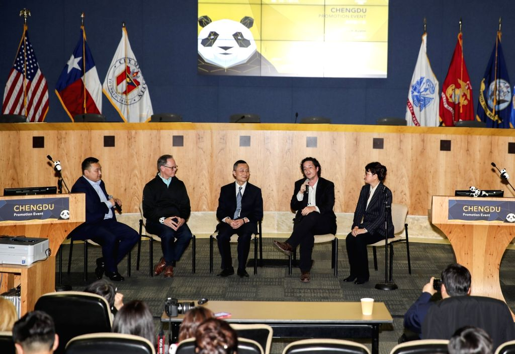 AUSTIN (U.S.), March 9, 2019 Invited guests take part in a panel discussion at an event promoting southwest China's city of Chengdu in the southern U.S. city of Austin, March 8, 2019. ...