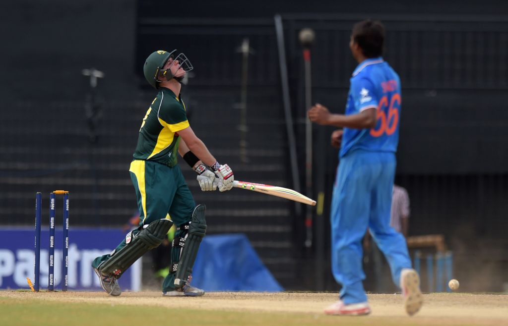 Australia `A` team player in action during India A Team Triangular Series match between India `A` and Australia `A` at MAC Stadium in Chennai, on Aug 10, 2015.